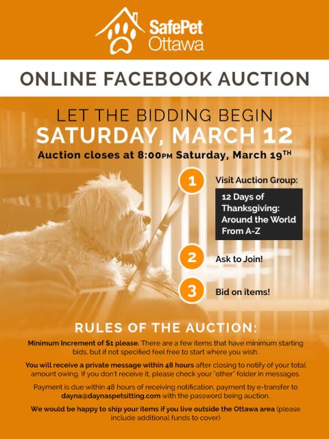 SafePet Ottawa Facebook Group Auction
